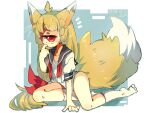1girl ahoge animal_ears arm_support blonde_hair bow closed_mouth cyclops dated eyebrows_visible_through_hair fox_ears fox_tail grey_sailor_collar hair_bow hand_up highres long_hair looking_at_viewer low-tied_long_hair muroku_(aimichiyo0526) one-eyed one-piece_swimsuit open_clothes open_shirt original puffy_short_sleeves puffy_sleeves red_eyes red_neckwear sailor_collar school_swimsuit school_uniform serafuku short_sleeves signature sitting socks solo swimsuit tail undone_neckerchief very_long_hair whiskers white_legwear white_swimsuit x_x