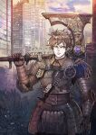 1boy armor axe battle_axe belt breastplate brown_hair building chainmail character_request clouds cloudy_sky collar copyright_request day elbow_pads faulds gauntlets green_eyes highres holding holding_axe holding_weapon looking_to_the_side male_focus open_mouth over_shoulder panda8581 shoulder_armor sky spaulders weapon weapon_over_shoulder