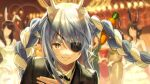 animal_ear_fluff animal_ears artist_name black_jacket black_neckwear blurry blurry_background blush bokeh bow bowing bowtie carrot_hair_ornament collared_shirt commentary cosplay depth_of_field eyepatch fake_animal_ears food_themed_hair_ornament formal grin hair_between_eyes hair_ornament highres hikosan hololive jacket light_blue_hair long_hair looking_at_viewer majima_gorou majima_gorou_(cosplay) multicolored_hair parody rabbit_ears red_eyes ryuu_ga_gotoku ryuu_ga_gotoku_0 shirt signature smile solo_focus sparkle suit thick_eyebrows tuxedo twintails two-tone_hair upper_body usada_pekora virtual_youtuber white_hair white_shirt wing_collar