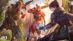 1boy 1girl 1other apex_legends bird black_hair bloodhound_(apex_legends) blue_eyes bodysuit charge_rifle clenched_hand copyright_name crow electricity explosion gloves glowing glowing_eye glowing_eyes grey_gloves gun hair_behind_ear hair_bun highres holding holding_gun holding_weapon humanoid_robot logo looking_back looking_down mask open_hand red_gloves revenant_(apex_legends) weapon wraith_(apex_legends) yellow_eyes zonotaida