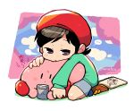 ... 1girl adeleine ado beret black_hair blush_stickers brown_eyes clouds cloudy_sky game_boy handheld_game_console hat highres king_dedede kirby kirby's_dream_land_3 kirby_(series) leaning_on_person long_sleeves rariatto_(ganguri) shoes sketchbook sky spoken_ellipsis twitter_username