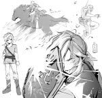 1boy absurdres animal arrow_(projectile) boots bow_(weapon) closed_mouth fingerless_gloves gloves greyscale highres horse horseback_riding hylian_shield link male_focus monochrome multiple_views pants quiver riding shield signature sitting sofra standing the_legend_of_zelda translation_request tunic twitter_username weapon