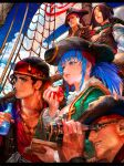 alternate_costume apple bandana binoculars black_hair blue_eyes blue_hair book bottle breasts brown_hair clark_still corset eating eyepatch food frills fruit hat heidern highres ikari_warriors leona_heidern looking_away nao3art pirate_costume pirate_hat pirate_ship ponytail ralf_jones rope short_hair the_king_of_fighters whip_(kof)