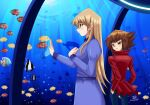 1boy 1girl aquarium blonde_hair blue_dress blush bow brown_eyes brown_hair couple deviantart fish hands_in_pockets happy ocean pointing red_jacket sincity2100 smile sunlight tenjouin_asuka turtle water yellow_eyes yu-gi-oh! yuu-gi-ou yuu-gi-ou_gx yuuki_juudai