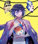 1boy :q bangs black_hair closed_mouth commentary_request danganronpa_(series) danganronpa_v3:_killing_harmony hair_between_eyes highres holding holding_mask jacket jacket_on_shoulders looking_at_viewer male_focus mask mask_removed multicolored_hair navel no_shirt ouma_kokichi pants pink_eyes purple_hair qianhai short_hair simple_background smile solo space_print starry_sky_print tongue tongue_out violet_eyes white_pants yellow_background