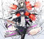 2boys absurdres bangs black_hair black_jacket black_pants blood blood_from_mouth bottle broken_glass brown_footwear checkered checkered_scarf collarbone commentary_request danganronpa_(series) danganronpa_v3:_killing_harmony dress_shirt fanta flower foot_out_of_frame glass gun hair_between_eyes hands_up highres holding holding_bottle holding_weapon iei jacket long_sleeves looking_at_viewer male_focus multiple_boys open_clothes open_jacket open_shirt ouma_kokichi pants pink_eyes qianhai red_flower scarf shirt shoes short_hair sitting smile spoilers sword violet_eyes weapon white_flower white_shirt