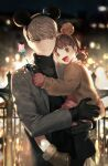 1boy 1girl absurdres animal_ears bangs black_gloves black_sweater blurry bokeh boots brown_eyes brown_footwear brown_hair brown_jacket btmr_game carrying child city_lights depth_of_field doujima_nanako dress fake_animal_ears gloves grey_eyes grey_jacket hair_bobbles hair_ornament hat highres jacket long_sleeves low_twintails mini_hat narukami_yuu night open_mouth outdoors persona persona_4 pink_dress pink_gloves short_twintails signature silver_hair smile star_(symbol) star_wand sweater turtleneck turtleneck_sweater twintails wand witch_hat