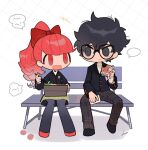 1boy 1girl absurdres amamiya_ren bangs bench bird black_eyes black_hair black_jacket black_legwear bow btmr_game chibi chopsticks eating food hair_between_eyes hair_bow highres holding holding_chopsticks holding_food jacket long_hair long_sleeves obentou open_mouth pants pantyhose persona persona_5 plaid plaid_pants ponytail red_bow red_eyes redhead school_uniform shuujin_academy_uniform signature simple_background sitting skirt smile yoshizawa_kasumi