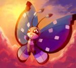 :d bug butterfly clouds cloudy_sky commentary creature english_commentary flying full_body gen_6_pokemon happy highres insect musicalcombusken no_humans open_mouth outdoors pokemon pokemon_(creature) sky smile solo twilight vivillon vivillon_(polar)
