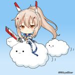 1girl :3 ayanami_(azur_lane) azur_lane bangs blue_background blue_sailor_collar blue_skirt blush brown_eyes chibi closed_mouth clouds commentary_request crop_top detached_sleeves eyebrows_visible_through_hair gradient gradient_background hair_between_eyes hair_ornament hairclip headgear holding holding_sword holding_weapon light_brown_hair long_hair long_sleeves looking_at_viewer midriff miicha pleated_skirt ponytail retrofit_(azur_lane) ribbon-trimmed_sleeves ribbon_trim sailor_collar shirt sidelocks skirt sleeveless sleeveless_shirt sleeves_past_wrists solid_circle_eyes solo sword twitter_username weapon white_shirt white_sleeves wide_sleeves