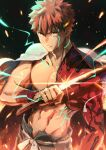 1boy absurdres embers emiya_shirou fate/grand_order fate_(series) glint highres holding holding_sword holding_weapon igote katana limited/zero_over looking_at_viewer male_focus redhead sengo_muramasa_(fate) shirtless solo sword toned toned_male tuto_(mokuchin09) upper_body weapon wristband yellow_eyes