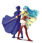 1boy 1girl absurdres aqua_eyes aqua_hair armor bangs blue_hair boots cape eirika_(fire_emblem) fire_emblem fire_emblem:_mystery_of_the_emblem fire_emblem:_shadow_dragon fire_emblem:_the_sacred_stones gloves hair_between_eyes highres kawazu_(pixiv22469761) long_hair marth_(fire_emblem) rapier shoulder_armor skirt sword thigh-highs thigh_boots weapon white_background