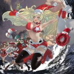 5girls abyssal_ship anno88888 aqua_hair bangs bell bikini bikini_top black_legwear blonde_hair blue_eyes boots breasts brown_hair christmas closed_eyes detached_sleeves dress enemy_lifebuoy_(kantai_collection) fur_trim hair_ornament hat highres holding holding_sack kantai_collection kashima_(kantai_collection) knee_boots kneehighs kumano_(kantai_collection) large_breasts littorio_(kantai_collection) long_hair mittens multiple_girls one_eye_closed open_clothes open_mouth outdoors party_popper pleated_skirt red_bikini red_dress red_footwear red_mittens red_shorts sack santa_hat shorts silver_hair skirt sky snowman star_(symbol) suzuya_(kantai_collection) swimsuit the_roma-like_snowman thigh-highs twintails water
