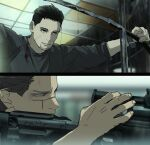 0109_(artist) 2boys aiming anachronism black_eyes black_hair blood bloody_clothes blurry blurry_background brown_eyes brown_hair ceiling close-up closed_mouth commentary_request facial_hair from_side golden_kamuy grey_shirt gun hair_slicked_back hair_strand holding holding_gun holding_weapon indoors long_sleeves looking_away male_focus military multiple_boys ogata_hyakunosuke rifle scar scar_on_cheek scar_on_face scar_on_nose scope shadow shirt short_hair sleeves_rolled_up smile sniper_rifle stubble sugimoto_saichi undercut upper_body watch watch weapon