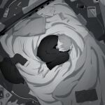 1boy avogado6 barefoot blanket cellphone colored_skin commentary_request curled_up fetal_position from_above grey_hair greyscale male_focus messy_room monochrome on_bed original pants phone power_strip shirt smartphone solo white_skin