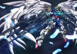 dual_wielding feathers floating glowing glowing_eyes green_eyes gun gundam gundam_wing gundam_wing_endless_waltz highres holding holding_gun holding_weapon looking_up mecha no_humans solo space star_(sky) tyuuboutyauyo v-fin weapon wing_gundam_zero_custom wings