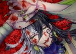 1boy :q arms_up ashiya_douman_(fate) asymmetrical_hair bell black_eyes black_hair blood blood_from_mouth blood_on_face bloody_hands curly_hair earrings face fate/grand_order fate_(series) fingernails flower flower_request green_eyeshadow green_kimono green_lipstick green_nails hair_bell hair_between_eyes hair_intakes hair_ornament japanese_clothes jewelry kimono licking_lips lipstick long_hair looking_at_viewer lying magatama magatama_earrings makeup male_focus multicolored_hair nosebleed on_back open_hands portrait red_flower red_pupils sharp_fingernails solo tongue tongue_out two-tone_hair upper_body very_long_fingernails very_long_hair white_hair yokaranu_yuuna