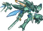 bellvine fantasy flying holding holding_sword holding_weapon insect_wings looking_down lowres mecha no_humans pixel_art seisenshi_dunbine siba._(sibadot) sword weapon white_background wings yellow_eyes zoom_layer