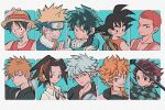 6+boys aqua_background asakura_you black_eyes black_hair bleach blonde_hair blue_eyes boku_no_hero_academia brown_eyes collared_shirt dragon_ball dragon_ball_(classic) finger_in_ear gintama green_hair grey_hair haikyuu!! headband hinata_shouyou jewelry kamado_tanjirou kimetsu_no_yaiba kurosaki_ichigo looking_at_viewer male_focus midoriya_izuku monkey_d_luffy multiple_boys naruto_(series) necklace one_piece orange_eyes orange_hair parted_lips red_shirt redhead sakata_gintoki sakuragi_hanamichi scar_on_forehead shaman_king shirt short_hair slam_dunk smile son_goku sword tank_top uzumaki_naruto uzuta weapon white_shirt
