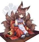 1girl absurdres amagi-chan_(azur_lane) animal_ears azur_lane bangs bell black_legwear blunt_bangs brown_hair commentary english_commentary fox_ears fox_girl fox_tail hair_ribbon head_tilt highres huge_filesize kyuubi long_hair long_sleeves looking_at_viewer multiple_tails nix_(lolowatatwarz) pantyhose ribbon rope sakura_empire_(emblem) seiza shimenawa sidelocks simple_background sitting sleeves_past_wrists solo tail thick_eyebrows twintails violet_eyes white_background wide_sleeves wooden_floor