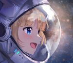 1girl absurdres astronaut bangs blonde_hair blue_eyes close-up dayshiart english_commentary from_side highres hololive hololive_english light_blush looking_ahead open_mouth outer_wilds solo space space_helmet virtual_youtuber watson_amelia
