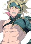 1boy abs asymmetrical_sleeves bare_pecs black_headwear blonde_hair chest_harness fate/grand_order fate_(series) harness headband heian_warrior_attire_(fate/grand_order) highres igote male_focus muscular muscular_male n_3203 navel official_alternate_costume pectorals sakata_kintoki_(fate/grand_order) single_bare_shoulder smile solo