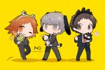 !? 3boys absurdres adachi_tooru animal_ears badtz-maru bangs brown_hair btmr_game character_doll chibi copyright_name dog_ears formal grin hanamura_yousuke hasunoue_keroppi high_collar highres jacket kero_kero_keroppi long_sleeves male_focus multiple_boys narukami_yuu necktie one_eye_closed pants persona persona_4 persona_4_the_golden pochacco red_neckwear sanrio school_uniform shadow silver_hair simple_background smile star_(symbol) stuffed_toy suit sweat tail yasogami_school_uniform yellow_background