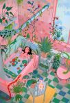 1girl absurdres bathing bathroom bathtub bigskycastle black_hair blue_flower blush bra bra_removed chair flower frog highres leaf lily_pad lizard long_hair looking_up mushroom nude original overgrown partially_submerged pink_flower plant potted_plant red_flower smile snake soap solo tile_floor tiles toilet underwear wide_shot window yellow_flower