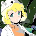 1girl adventure_time alien1890 bags_under_eyes bear_hat blonde_hair blue_eyes coat hat labcoat looking_at_viewer lowres minerva_(adventure_time) oekaki open_clothes open_coat orange_shirt pixel_art shirt short_hair white_coat