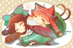 2girls animal_ears bangs black_bow black_wings blush bow braid brown_hair cape cat_ears cat_tail closed_eyes commentary_request control_rod dress extra_ears feathered_wings frilled_skirt frills green_bow green_dress green_skirt hair_bow highres htk_mikan kaenbyou_rin long_hair long_sleeves lying multiple_girls multiple_tails on_side pointy_ears polka_dot polka_dot_background redhead reiuji_utsuho shirt short_sleeves signature skirt smile sun_(symbol) tail touhou twin_braids two_tails white_cape white_shirt wings
