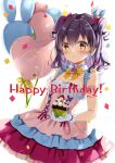 1girl balloon bangs bare_shoulders black_hair blush bow breasts brown_eyes commentary_request confetti cupcake dress eyebrows_visible_through_hair food fruit gloves hair_between_eyes hair_bow happy_birthday hibiki_ao hibiki_ao_(channel) holding holding_food layered_dress long_hair looking_at_viewer natsume_eri parted_lips pink_dress pleated_dress red_bow simple_background small_breasts solo strawberry two_side_up virtual_youtuber white_background white_gloves yellow_bow