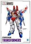 airplane_wing arm_cannon artist_request clenched_hands copyright_name decepticon english_commentary flame_toys hasbro highres logo mecha no_humans official_art red_eyes signature smile solo standing starscream transformers weapon
