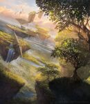 absurdres alayna_danner blue_sky commentary day dutch_angle english_commentary fantasy floating_island grass highres magic:_the_gathering nature official_art outdoors river ruins scenery sky tree water waterfall watermark