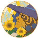 1boy black_eyes circle diamond_(shape) flower jewelry luxiao_ao necklace no_humans portrait profile purple_headwear smile solo sunflower the_legend_of_luo_xiaohei tianhu_(the_legend_of_luoxiaohei) yellow_flower