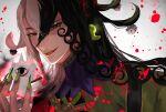 1boy absurdres alternate_eye_color ashiya_douman_(fate) asymmetrical_clothes asymmetrical_hair bell black_eyes black_hair blood blood_splatter curly_hair earrings evil_smile fangs fate/grand_order fate_(series) fingernails green_eyeshadow green_kimono green_lipstick green_nails hair_bell hair_between_eyes hair_intakes hair_ornament highres japanese_clothes jewelry kimono lipstick long_hair looking_at_viewer magatama magatama_earrings makeup male_focus multicolored_hair open_clothes open_hand open_kimono pekerika red_eyes ribbed_sleeves sharp_fingernails shikigami smile solo two-tone_hair upper_body very_long_fingernails very_long_hair white_hair