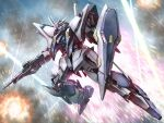 beam_rifle energy_gun explosion flying glowing glowing_eyes green_eyes gun gundam gundam_hathaway's_flash holding holding_gun holding_weapon looking_up mecha no_humans science_fiction shield solo studiozombie v-fin weapon xi_gundam