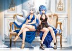 2girls animal_ears azur_lane blue_dress blue_eyes blue_hair breasts brown_eyes brown_tail champagne_flute cup dress drinking_glass essex_(azur_lane) evening_gown fox_ears fox_girl fox_tail gold_footwear halter_dress high_heels highres kaga_(azur_lane) kaga_(white-tailed_magnificence)_(azur_lane) kitsune kyuubi large_breasts large_tail long_hair multiple_girls multiple_tails o-ring_dress stardust_(chen'ai_weiding) tail white_hair