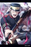 1boy absurdres angry arisaka artist_name attack black_hair black_headwear blood blood_on_face blue_jacket blue_pants bolt_action buttons collar collared_jacket commentary_request framed golden_kamuy grey_eyes gun hat highres holding holding_gun holding_weapon imperial_japanese_army jacket kepi long_sleeves looking_at_viewer male_focus menma_kozo military military_hat military_uniform open_mouth outdoors pants rifle scar scar_on_face scar_on_nose solo sugimoto_saichi teeth two-tone_headwear uniform weapon yellow_headwear
