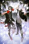 2boys absurdres amamiya_ren audience bangs black-framed_eyewear black_hair black_jacket black_pants black_shirt btmr_game closed_mouth confetti copyright_name glasses gloves hair_between_eyes headphones headphones_around_neck high_collar highres jacket leg_up male_focus multiple_boys narukami_yuu open_mouth pants persona persona_4 persona_4:_dancing_all_night persona_5 persona_5:_dancing_star_night persona_dancing plaid plaid_pants pose red_gloves shirt signature silver_hair sleeves_rolled_up stage standing white_shirt
