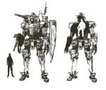 greyscale gun gundam holding holding_gun holding_weapon looking_ahead mecha mobile_suit_gundam monochrome multiple_views otsu_(outsunaruse) redesign rx-78-2 shield shoulder_cannon size_comparison sketch standing v-fin weapon white_background x-ray_vision