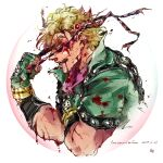 1boy battle_tendency bleeding blonde_hair blood blood_from_mouth blood_on_face bloody_clothes bloody_hair caesar_anthonio_zeppeli clenched_hands commentary_request cropped_torso cuts dated feathers fingerless_gloves from_side gloves green_eyes green_gloves green_jacket hair_feathers hair_ornament hand_on_own_chest hand_up headband_removed high_collar highres holding holding_headband injury italian_text jacket jojo_no_kimyou_na_bouken looking_ahead looking_away male_focus open_mouth pink_scarf profile scarf scratches serious short_hair short_sleeves signature solo torn_clothes translation_request upper_body zino