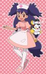 1girl :d apron bangs brown_eyes commentary_request dress emolga eyebrows_visible_through_hair eyelashes gen_5_pokemon hat heart iris_(pokemon) long_hair nurse nurse_cap okaohito1 open_mouth outline pantyhose pink_dress pink_footwear pokemon pokemon_(anime) pokemon_(creature) pokemon_bw_(anime) polka_dot polka_dot_background purple_hair shoes smile teeth tongue waist_apron white_legwear
