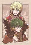2boys arms_around_neck bangs beige_border black-framed_eyewear black_coat blonde_hair blue_eyes border brown_capelet coat commentary_request copyright_name cover cover_page doujin_cover glasses green_hair highres ichimi_(simtysiger) long_sleeves looking_to_the_side male_focus multiple_boys open_mouth plant priest_(ragnarok_online) ragnarok_online red_coat red_eyes semi-rimless_eyewear sepia_background short_hair signature sweatdrop teeth two-tone_coat under-rim_eyewear upper_body wizard_(ragnarok_online)
