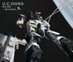 absurdres anaheim_electronics char's_counterattack character_name charange clenched_hands from_behind from_below gundam highres jetpack mecha no_humans nu_gundam science_fiction solo space thrusters wire