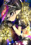 1girl alternate_eye_color bangs black_choker black_eyes black_footwear black_gloves black_shirt black_shorts blurry blurry_foreground boots callie_(splatoon) choker closed_mouth commentary crop_top depth_of_field domino_mask earrings food food_on_head gloves highres jewelry knee_up lamp leaning_forward leg_hug legwear_under_shorts light_particles long_hair looking_at_viewer mask midriff mole mole_under_eye navel nomu object_on_head pantyhose pointy_ears purple_legwear shirt short_shorts short_sleeves shorts sitting smile solo sparkle spiked_belt spiked_choker spikes splatoon_(series) splatoon_2 star_ornament stomach_tattoo sushi swept_bangs tako-san_wiener tattoo tentacle_hair tied_hair very_long_hair