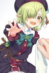 1girl @_@ aoi_(princess_connect!) bangs beret black_coat black_headwear blue_bow blue_feathers blurry blurry_foreground blush bow bow_panties clothes_theft coat collared_shirt commentary_request depth_of_field dress_shirt elf fang feathers green_eyes green_hair hair_over_one_eye hat highres ken_pyatsu long_sleeves open_mouth panties panties_removed pointy_ears princess_connect! princess_connect!_re:dive shirt simple_background solo_focus theft underwear underwear_theft wavy_mouth white_background white_panties white_shirt