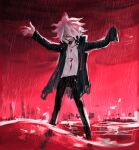1boy akiko_141 amputee black_pants clouds cloudy_sky commentary_request danganronpa_(series) danganronpa_2:_goodbye_despair evil_smile green_jacket grin hands_up highres jacket komaeda_nagito legs_apart long_sleeves looking_at_viewer male_focus open_clothes open_jacket outstretched_arms pants print_shirt rain red_theme shirt sky smile solo spoilers standing torn_jacket wading weapon white_shirt