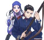 1boy 1girl :d ainu ainu_clothes arisaka asirpa bandana belt binoculars black_eyes black_hair blue_bandana blue_eyes blue_jacket blue_pants blush bolt_action brown_belt closed_mouth collar collared_vest commentary_request cup ear_piercing earrings facial_hair goatee golden_kamuy gun hair_slicked_back hair_strand highres holding holding_binoculars holding_cup holding_weapon hoop_earrings imperial_japanese_army jacket jewelry long_hair long_sleeves looking_at_viewer military military_uniform ogata_hyakunosuke open_mouth pants piercing rifle sayasaka scar scar_on_cheek scar_on_face short_hair simple_background sitting smile standing stubble trigger_discipline undercut uniform upper_body vest weapon white_background