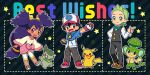 1girl 2boys :d ash_ketchum axew bangs baseball_cap black_hair black_pants black_vest blush brown_eyes brown_footwear chibi cilan_(pokemon) commentary_request eyelashes fingerless_gloves gen_1_pokemon gen_5_pokemon gloves green_eyes green_hair hat holding holding_poke_ball iris_(pokemon) jacket long_hair long_sleeves multiple_boys okaohito1 open_mouth pansage pants pikachu poke_ball poke_ball_(basic) pokemon pokemon_(anime) pokemon_(creature) pokemon_bw_(anime) purple_hair shirt shoes smile standing star_(symbol) teeth tied_hair tongue vest white_shirt zipper_pull_tab