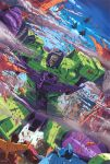 6+boys aircraft airplane autobot blurr decepticon devastator_(transformers) fighter_jet highres hot_rod jet looking_down marble-v mecha military military_vehicle multiple_boys no_humans open_mouth red_eyes science_fiction sky skywarp smoke starscream thundercracker transformers wire